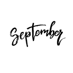 September. Autumn brush lettering.