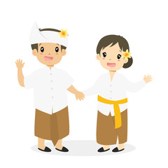 Indonesian boy and girl wearing Bali traditional dress and holding hand, cartoon vector illustration