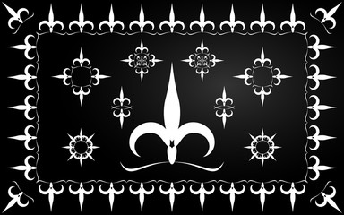 Ornament from lilies flower in different combinations. French Fleur-de-lis lily. Vector