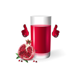 Pomegranate juice of the highest quality, cartoon on a white background.