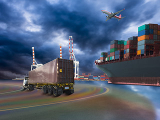 ship with container vessel go to international terminal port with throughput Capacity import export goods Far Eastern Freight Conferenceto client concept worker team of business.