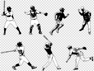 baseball players set - sketch illustration, vector