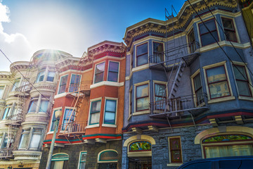 Foto op Canvas San Francisco Victorian houses in San Francisco