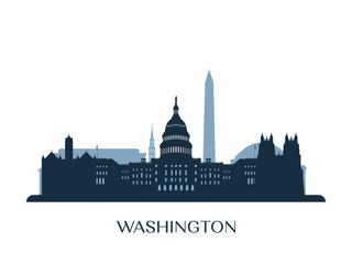 Washington skyline, monochrome silhouette. Vector illustration. Fototapete