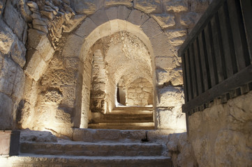 Staircase in the castle of Ajlun in Jordan