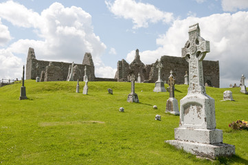Cemetery in Clonmacnoise, Ireland
