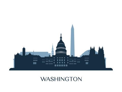 Washington skyline, monochrome silhouette. Vector illustration.
