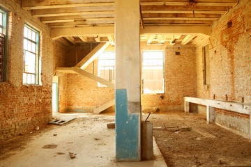 Abandoned old mill interior