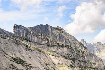 Daylight landscape, view on mountains and rocks, Ergaki