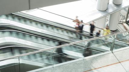 blured escalator in motion