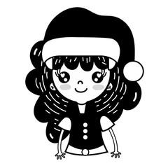 contour beauty girl celebrating merry christmas vector illustration
