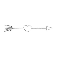 arrow with heart icon over white background vector illustration