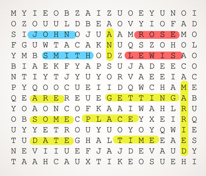 Wedding card invitation as a word search puzzle