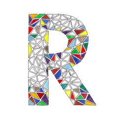 R letter in watercolor tiled mosaic in geometric style
