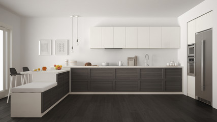 Classic modern kitchen with wooden details and parquet floor, minimalist white and gray interior design