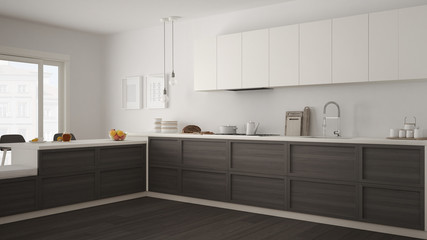 Classic kitchen with wooden details and parquet floor, minimalist white and gray interior design