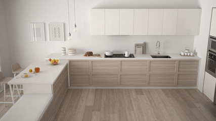 Modern kitchen with wooden details and parquet floor, minimalist white interior design, top view