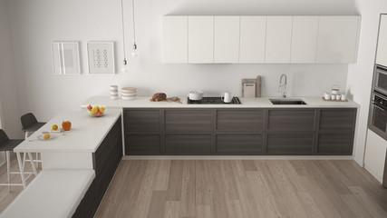 Modern kitchen with wooden details and parquet floor, minimalist white and gray interior design, top view