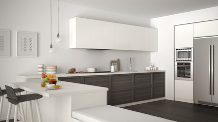 Classic kitchen with wooden details and parquet floor, healthy breakfast, minimalist white and gray interior design