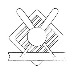 baseball sport emblem icon vector illustration graphic design