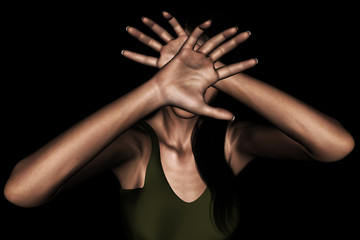 3d rendering of a woman using her hand to hide her face from something scary,or protecting from being attacked