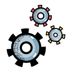 industry gears process to technical engine equipment vector illustration