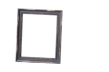 Isolated on white old rustick brown picture frame