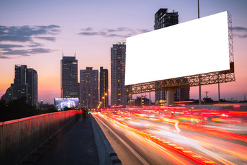 billboard at twilight near the street