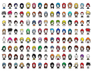Characters vector set cartoon design mobile game dress up Illustration on White Background eps10