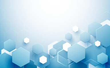 Wall Mural - Abstract blue and white hexagons repeating and futuristic technology concept background