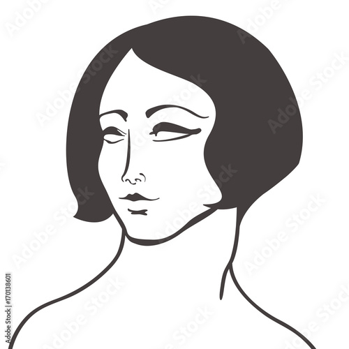 Black Beauty Woman Face Vector Isolated