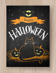 Halloween postcard color chalked design