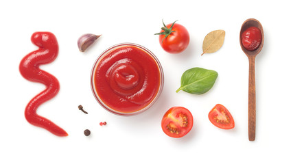 tomato sauce in bowl isolated on white