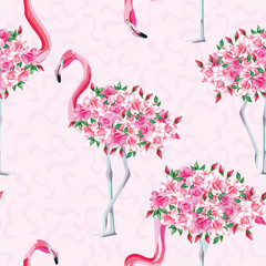 Pink flamingo body of roses seamless pattern