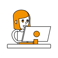 Computer and girl of device gadget technology and electronic theme Isolated design Vector illustration
