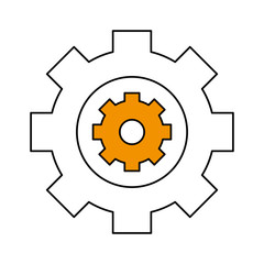 Gear icon of cog circle wheel and machine theme Isolated design Vector illustration