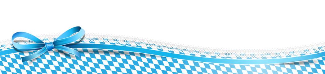 Oktoberfest Banderole mit Schleife und Rautenmuster blau weiß