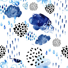 Poster Watercolor Nature Watercolor fall shower seamless pattern.