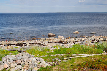 The rocky shore of the White sea zacky on the big Island of the Solovetsky archipelago