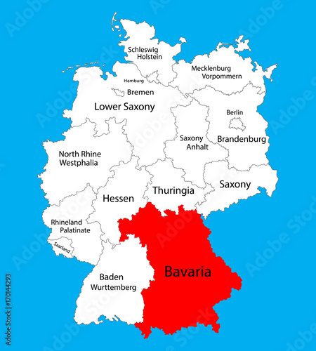 Bavaria state map, Germany, vector map silhouette ...