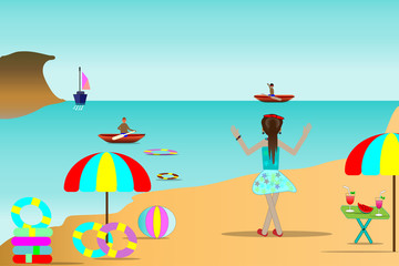 Sea beach illustrations, traveler and beautiful sea islands and summer travel ideas