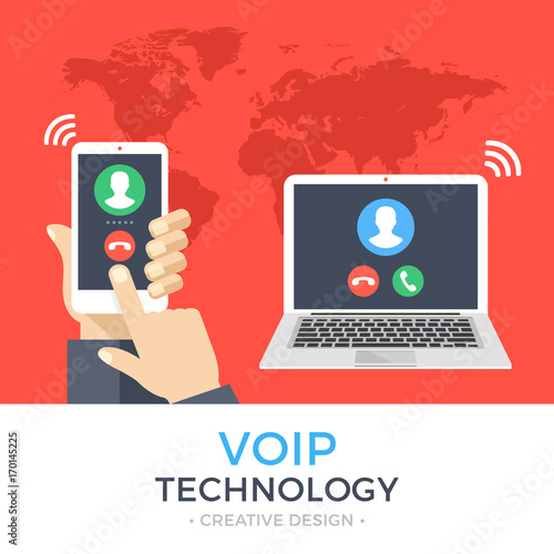 VoIP technology, voice over IP, IP telephony concept  Hand holding