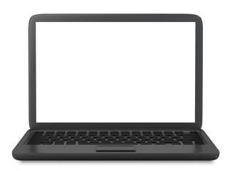 Modern Laptop PC with blank LCD screen isolated on white background -3D rendering, mock up template