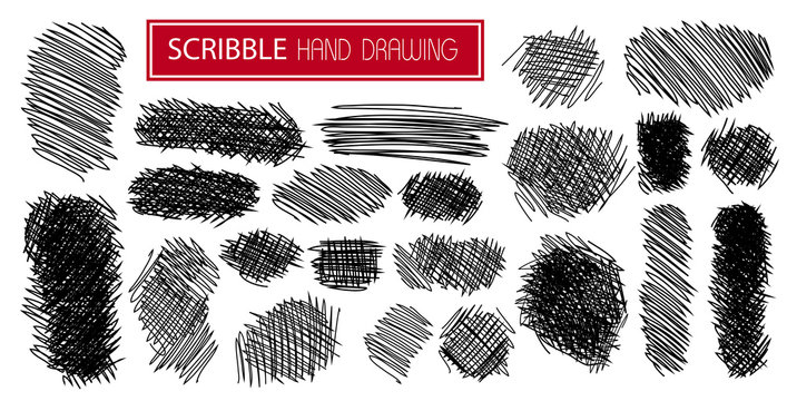 hand drawn scribble symbols isolated on white - SET1