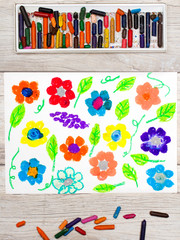 Photo of colorful drawing: beautiful flowers in garden.