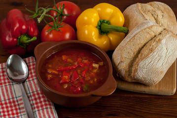 Leczo, tomato paprika soup and sausage
