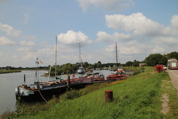 Harbor in Nieuwerkerk with ships to live on