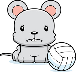 Cartoon Angry Volleyball Player Mouse