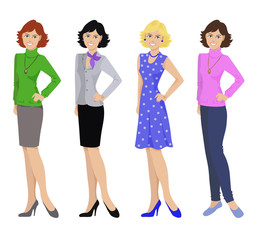 Beautiful women in different outfits, flat icons on white background, vector illustration