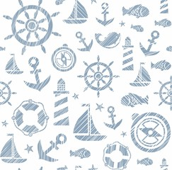 Nautical background, seamless, white and gray vector. The attributes of a sea voyage on a white background. Gray drawings are painted with diagonal hatch. Vector pattern.